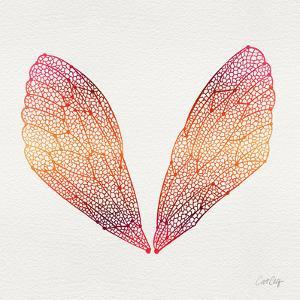 Cicada Wings in Red Ombre Ink by Cat Coquillette