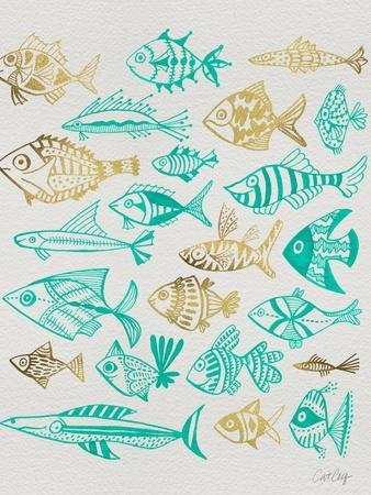 Fish Inklings in Turquoise and Gold Ink
