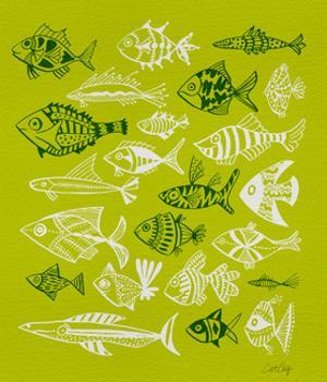 Fish Inklings on Lime by Cat Coquillette