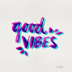 Good Vibes - Magenta and Cyan Ink by Cat Coquillette