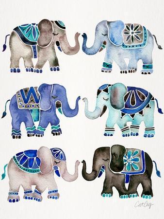 Grey and Blue Elephants