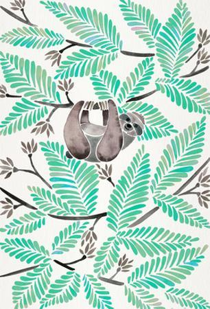 Happy Sloth Mint by Cat Coquillette