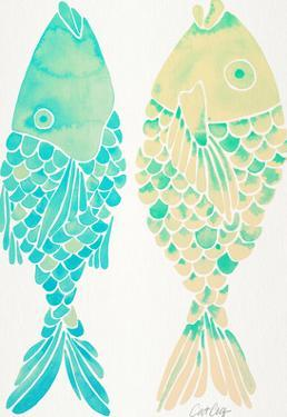 Indonesian Fish Turquoise Cream by Cat Coquillette