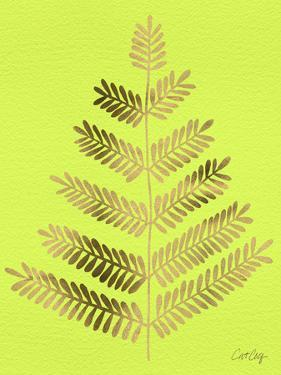 Leaflets in Gold on Lime – Cat Coqullette by Cat Coquillette