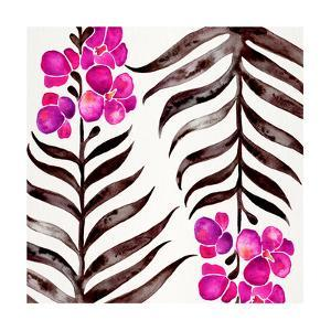 Magenta Black Orchid Bloom Pattern by Cat Coquillette