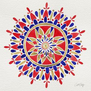 Mandala in Red and Navy by Cat Coquillette
