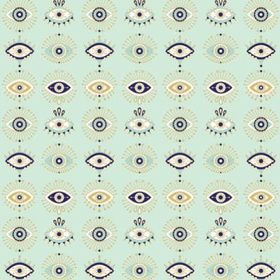 Mint Evil Eyes Pattern by Cat Coquillette