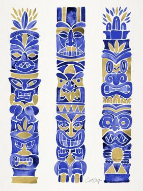 Navy and Gold Tiki Totems by Cat Coquillette