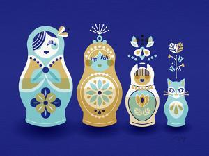 Navy Russian Dolls by Cat Coquillette