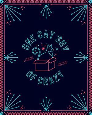 One Cat Shy Of Crazy Red Turquoise Navy by Cat Coquillette