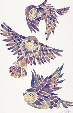 Owls In Flight Mauve by Cat Coquillette