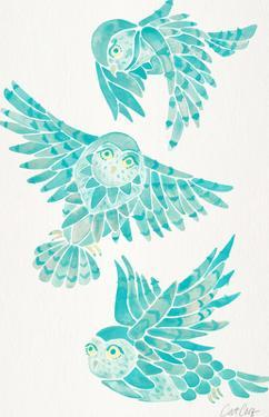 Owls In Flight Turquoise by Cat Coquillette