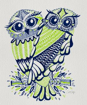 Owls in Navy and Lime by Cat Coquillette