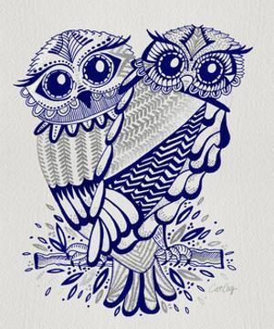 Owls in Navy and Silver by Cat Coquillette