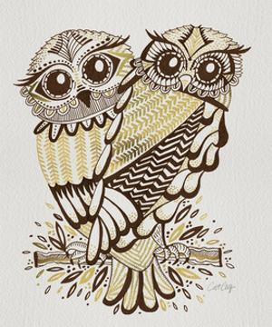 Owls in Sepia and Gold by Cat Coquillette