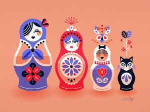 Pink and Lavender Russian Dolls by Cat Coquillette