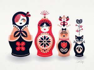 Pink and Navy Russian Dolls by Cat Coquillette