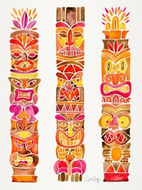 Red Tiki Totems by Cat Coquillette