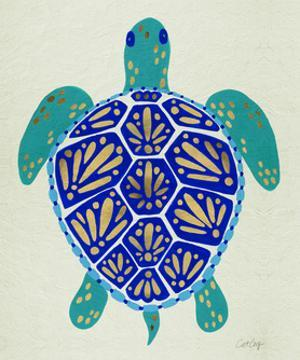 Sea Turtle in Blue and Gold by Cat Coquillette