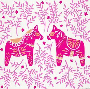 Swedish Dala Horses Pink by Cat Coquillette