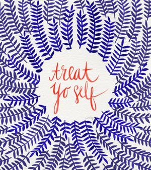 Treat Yo Self Coral Navy by Cat Coquillette