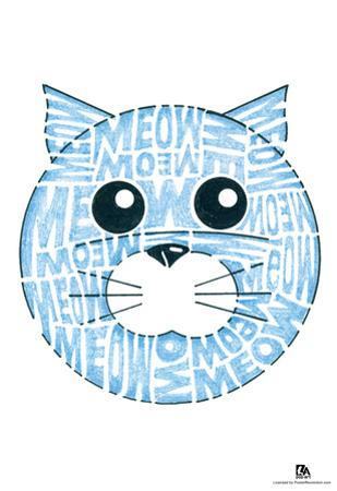 Cat Meow Text Poster