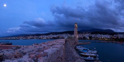 Crete, Rethimnon, Venetian Harbour, Evening Panorama, Moon by Catharina Lux