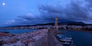 Crete, Rethimnon, Venetian Harbour, Evening Panorama, Moon by Catharina Lux