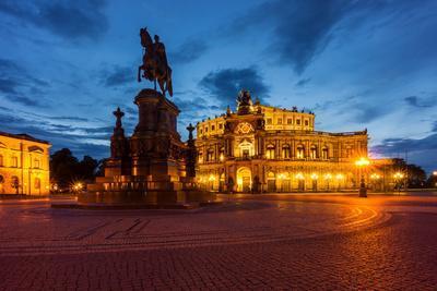 Dresden, Semperoper, King Johann Monument, Blue Hour