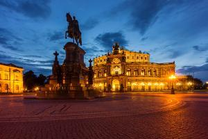 Dresden, Semperoper, King Johann Monument, Blue Hour by Catharina Lux