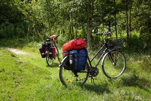 Germany, Saxony, Oder-Neisse Cycle Route, Cultural Island Einsiedel, Two Bicycles with Saddle-Bags by Catharina Lux