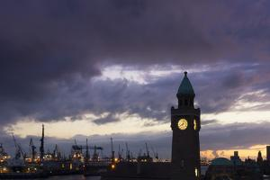 Hamburg, Landing Stages, Harbour, Dusk by Catharina Lux
