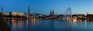 Hamburg, Panorama, the Inner Alster, Dusk by Catharina Lux