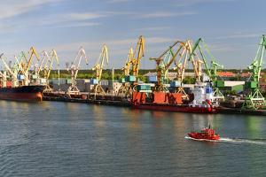 Lithuania, Klaipeda (Memel), Harbour, Cranes by Catharina Lux