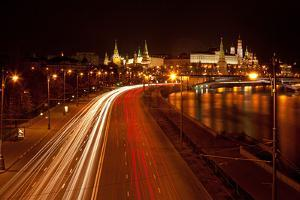 Moscow, Traffic on the Moskva Shore, Kremlin, at Night by Catharina Lux