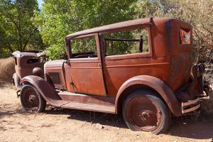USA, Arizona, Route 66, Rusty Car Body by Catharina Lux