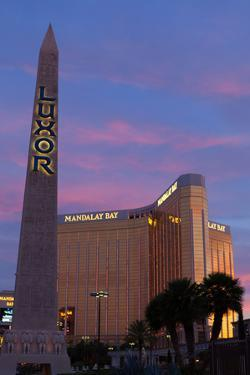 USA, Las Vegas, Hotel Mandala Bay and Luxor, Evening Light by Catharina Lux