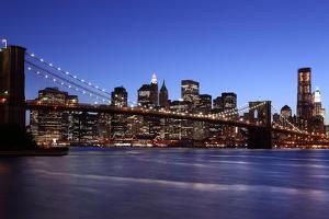 USA, New York City, Manhattan, Brooklyn Bridge, View from Brooklyn, Evening by Catharina Lux