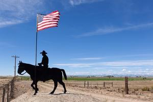 USA, Wyoming, Ranch, Sign, Cowboy, Us Flag by Catharina Lux
