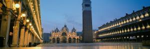 Cathedral Lit Up at Dusk, St. Mark's Cathedral, St. Mark's Square, Venice, Veneto, Italy