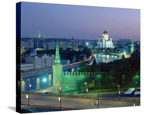 Cathedral of Christ the Saviour on the bank of Moskva River and Kremlin Wall, Moscow, Russia--Stretched Canvas Print