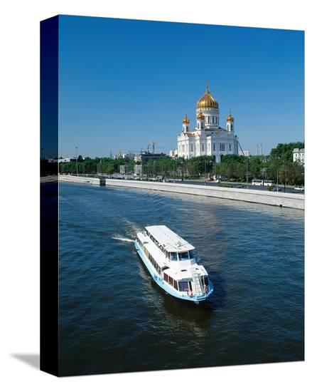 Cathedral of Christ the Saviour on the bank of Moskva River, Moscow, Russia--Stretched Canvas Print