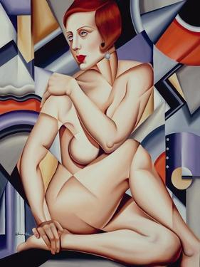 Cubist Nude Orange and Purple by Catherine Abel