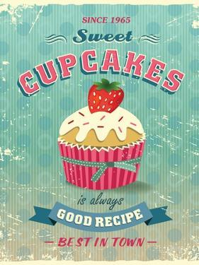 Illustration Of Vintage Cupcakes Sign by Catherinecml