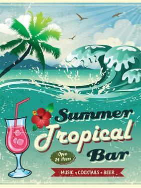 Illustration Of Vintage Seaside Tropical Bar Sign by Catherinecml