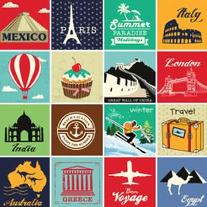 Set Of Vintage Retro Vacation And Travel Label Cards And Symbols by Catherinecml