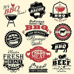 Vintage Retro BBQ Badges and Labels by Catherinecml
