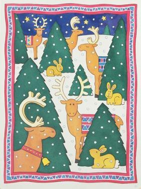 Reindeers around the Christmas Trees by Cathy Baxter