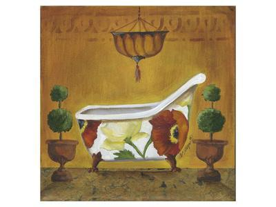 Tuscan Tub In Poppies I By Cathy Hartgraves