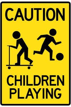 Caution Children Playing Plastic Sign